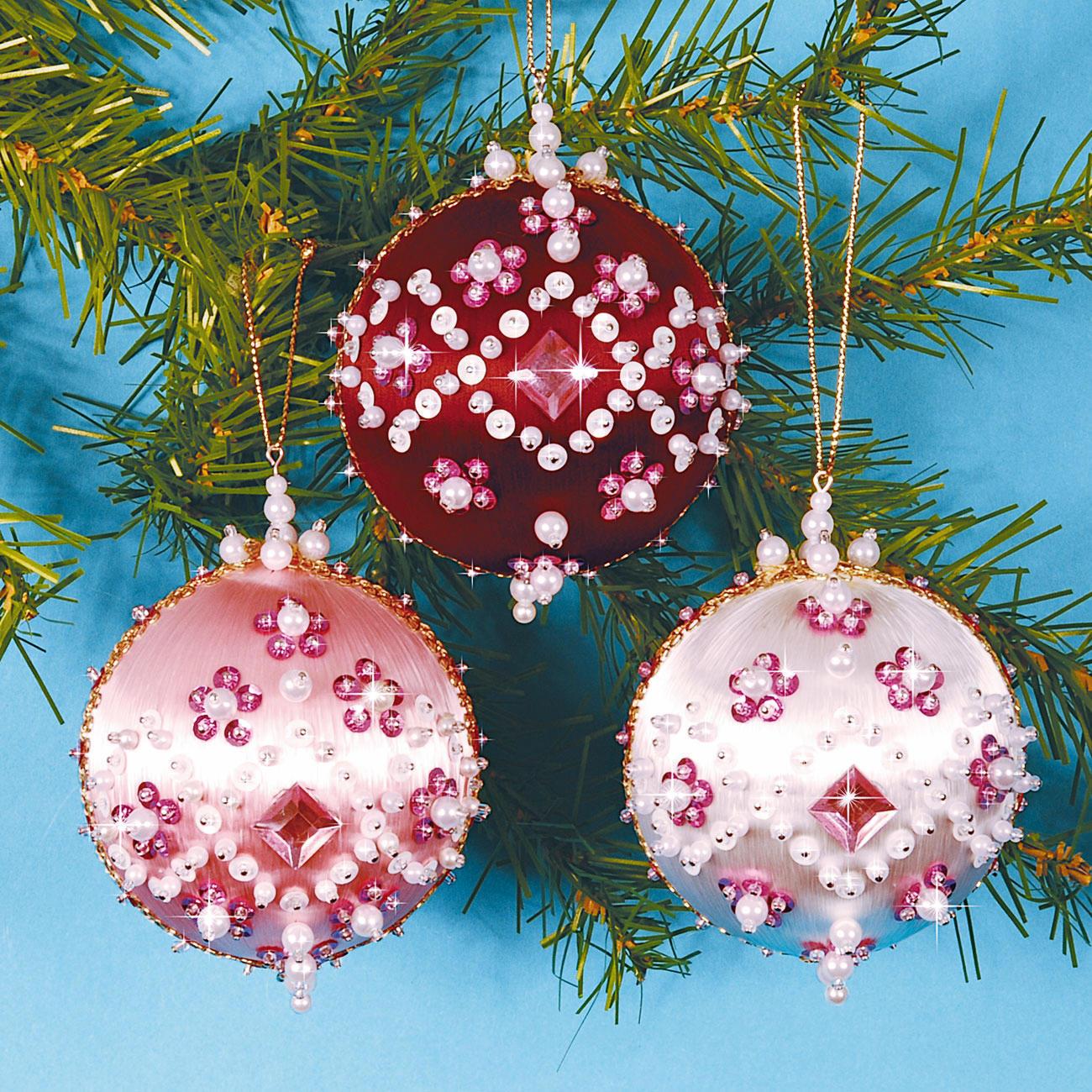 3 christbaumkugeln glanzfaden im set 3 versch farben - Christbaumkugeln selber machen ...