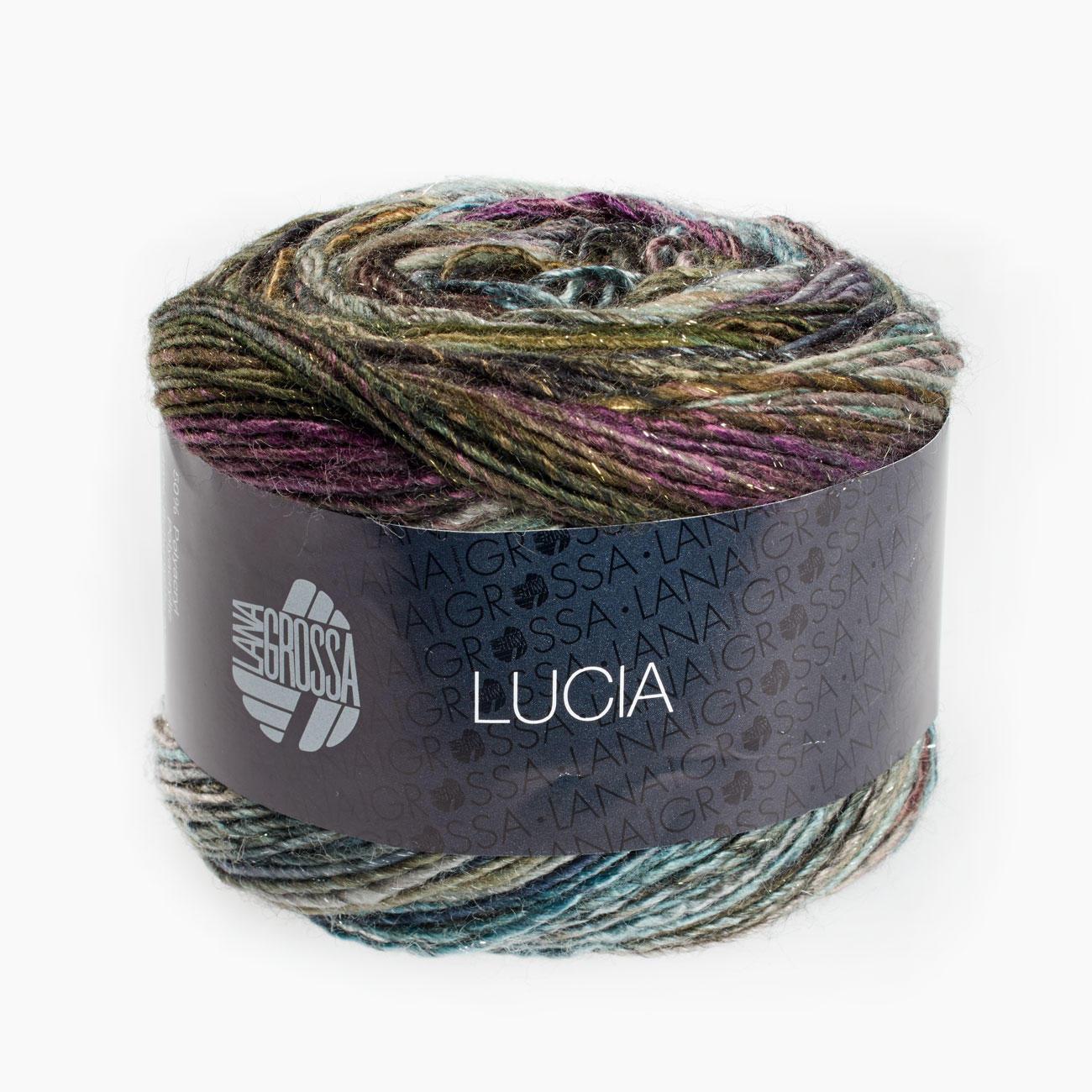 Lucia Lana Grossa 100g  Farbe 204 Gold//Braun//Orange//Anthrazit//Aubergine