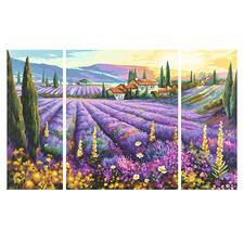 """Malen nach Zahlen """"Triptychon Lavendelfeld"""" Malen nach Zahlen."""