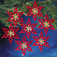6 Christsterne im Set, Ø 9 cm Glamouröser Perlen-Weihnachtsschmuck – als Komplettpackung zum kreativen Selbermachen.