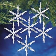 12 Eiskristalle im Set, Ø 8 cm Glamouröser Perlen-Weihnachtsschmuck – als Komplettpackung zum kreativen Selbermachen.