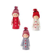 Strickfiguren Junge und Mädchen Gestrickte Winterkinder