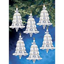 6 Perlenglocken im Set,  5 x 6 cm Glamouröser Perlen-Weihnachtsschmuck