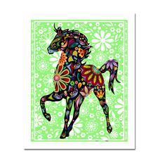 """Puzzle """"Pferd"""" Puzzles im kunterbunten Hippie-Design."""
