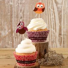 """Cupcake Deko-Sets """"Eule"""" oder """"Janosch"""" Cupcakes - süsse Verführer im bunten Gewand"""