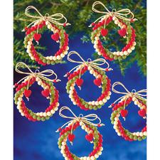 12 Kränze im Set, Ø 6 cm Glamouröser Perlen-Weihnachtsschmuck – in Komplettpackungen zum kreativen Selbermachen.