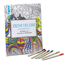 """Buch """"Zencolor"""" und Buntstifte im Set."""