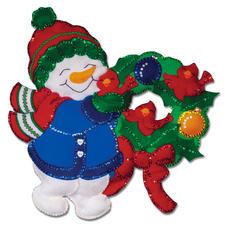 Wandbehang - Süsser Schneemann Weihnachtliches Basteln mit Filz