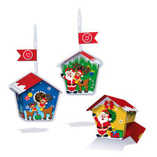 """Papier-Adventskalender Vogelhäuschen """"Weihnachtsmann"""" Adventskalender aus Papier."""