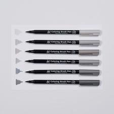 Koi Coloring Brush Pen: 6 Töne in Grau im Set Koi Coloring Brush Pen