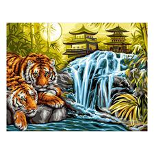 """Malen nach Zahlen """"Tiger am Fluss"""" Malen nach Zahlen."""