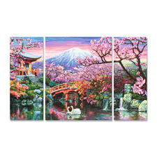 """Malen nach Zahlen """"Triptychon Kirschblüte in Japan"""""""
