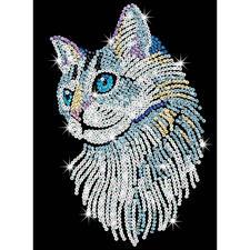 Paillettenbild für Erwachsene - Weisse Katze Paillettenbilder mit eindrucksvollen Motiven