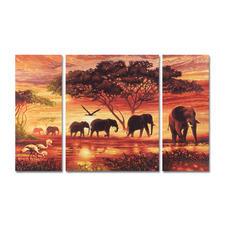 """Malen nach Zahlen """"Triptychon Elefanten Karawane"""" Malen nach Zahlen."""