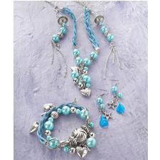 """Komplettpackung """"Kette oder Ohrringe"""" blau"""