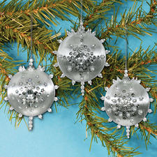 3 Christbaumkugeln Glanzfaden im Set Zum kreativen Selbermachen: Originelle Weihnachtskugeln.