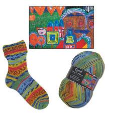 Opal Pullover- und Sockenwolle, 4-fädig, in Variationen nach Hundertwasser-Werken