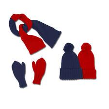 Modell 330/3, 2-farbiger Schal, Mütze und Fausthandschuhe aus Merino-Cotton von Junghans-Wolle