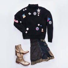 Modell 152/7, Trend-Pullover aus Merino Dick von Junghans-Wolle