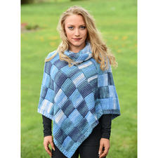Modell 357/6, Damen Poncho mit Loop aus Bandy Color von Woolly Hugs
