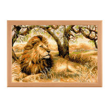 """Stickbild """"Der König der Tiere"""" Die Schönheit Afrikas – umgesetzt im eindrucksvollen Stickbild."""