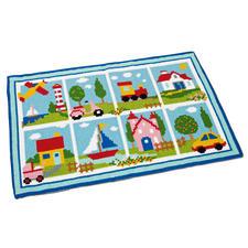 Farbenfroher Kreuzstich-Teppich Bunte Stickideen für das Kinderzimmer.