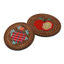 Sticken auf Holz - Oval Das besondere Stickerlebnis – Sticken auf Holz.