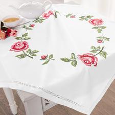 Hohlsaum-Tischdecke - Zarte Rosen Hohlsaum-Tischdecke Zarte Rosen