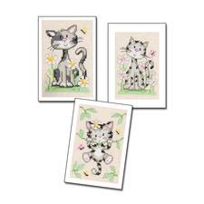 """3 Grusskarten mit Umschlägen im Set """"Katzen"""" 3 Grusskarten mit Umschlägen im Set"""