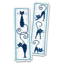 "2 Lesezeichen im Set ""Blaue Katzen"""