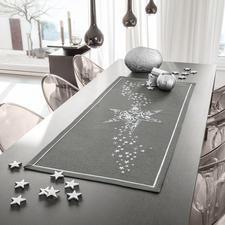 """Tischband, -läufer oder -decke """"Weihnachtsmotive"""" Edle Stickereien auf farbiger Tischwäsche."""
