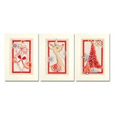 """3 Gruss- oder Menükarten mit Umschlägen im Set """"Weihnachtlich in Rot"""" 3 Gruss- oder Menükarten """"Weihnachtlich in Rot"""""""