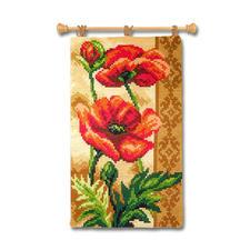 "Wandbehang ""Mohn"" Farbenfrohe Wohnraumdeko – im einfachen Kreuzstich schnell gestickt."