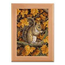 Kreuzstichbild - Herbstblätter Stickideen in warmen Herbstfarben