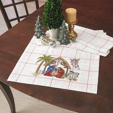 Tischläufer - Krippe, Steingrau Traditionsreiche Weihnachts-Stickerei.