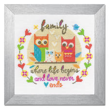 """Kreuzstichbild """"Family"""" Wunderschöne Schriftbilder im einfachen Kreuzstich selbst gestickt."""