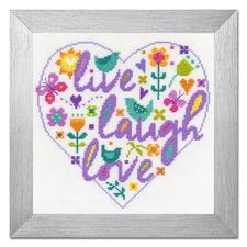 """Kreuzstichbild """"Live, Laugh, Love"""" Wunderschöne Schriftbilder im einfachen Kreuzstich selbst gestickt."""