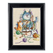 """Kreuzstichbild """"Ausser Kontrolle"""" Tierisch gut – Alles rund um die Katze."""