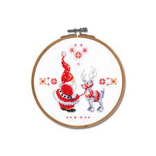 """Stickbild """"Wichtel & Rentier"""" mit Holzrahmen Weihnachtszeit ist Wichtelzeit."""