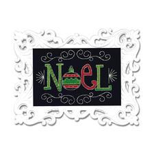 Stickbild mit Ornamentrahmen - Noel Moderne Stickidee.