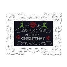"Stickbild mit Ornamentrahmen ""Merry Christmas"" Moderne Stickidee."
