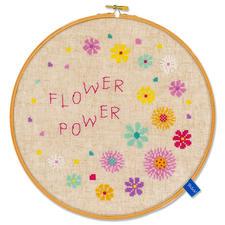 Stickbild mit Holzrahmen - Flower Power.