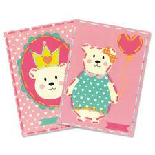 2 Stickbilder im Set - Bär mit Krone und Luftballon Stickspass für Kinder