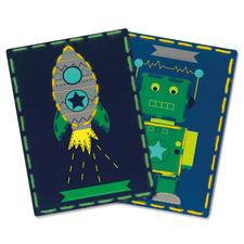 2 Stickbilder im Set - Roboter und Rakete Stickspass für Kinder