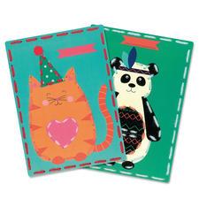 2 Stickbilder im Set - Katze und Panda Stickspass für Kinder