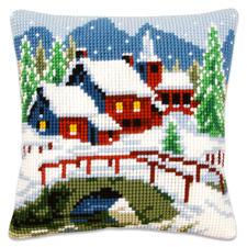 Winterdorf, Kreuzstichkissen Winterliche Stickideen