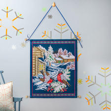 """Traditioneller Wandbehang """"Wintervögel"""" Stickideen für die kalte Winterzeit"""