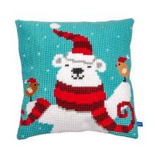 Kreuzstichkissen - Lustiger Weihnachtsbär