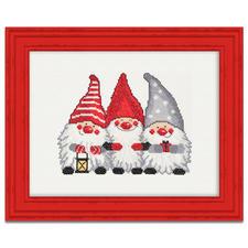 Wichtel-Trio, Kreuzstichbild Skandinavische Weihnachtswichtel