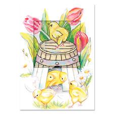 """Grusskarten mit Umschlägen """"Osterzeit"""" Farbenfrohe Stickideen zur Osterzeit."""